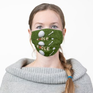 Golf Eagle for golfer with golf ball on green Cloth Face Mask
