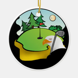 Golf Eagle Double-Sided Ceramic Round Christmas Ornament