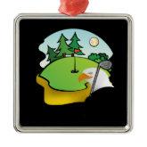Golf Eagle Square Metal Christmas Ornament
