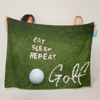 Golf eat sleep golf repeat with golf ball on green fleece blanket