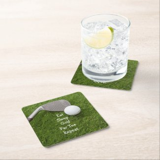 Golf Eat Sleep Par tee golf repeat with golf ball Square Paper Coaster