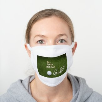 Golf Eat Sleep Repeat Golf White Cotton Face Mask