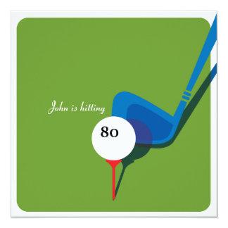 """¡Golf el 80.o cumpleaños - todavía balanceando! Invitación 5.25"""" X 5.25"""""""