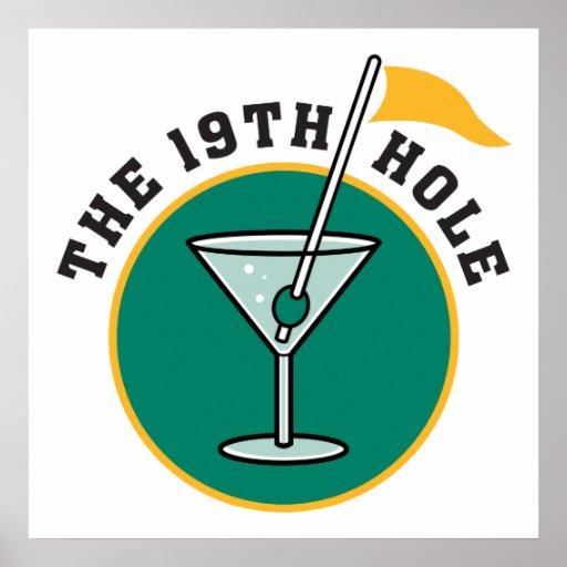 golf el diecinueveavo humor del tiempo de la bebid póster