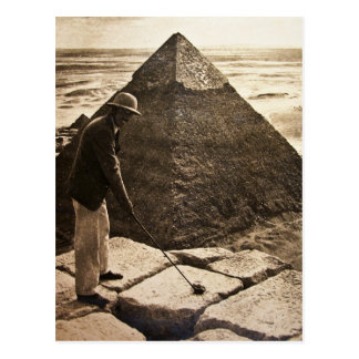 Golf en la sepia de la pirámide entonada tarjeta postal