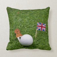 Golf England with Union Jack Flag and golf ball Throw Pillow
