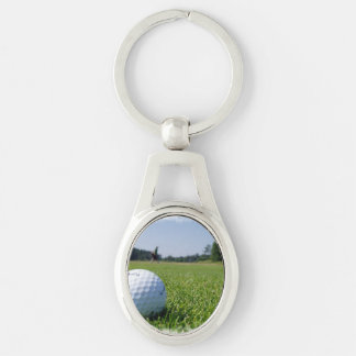 Golf Fairway Silver-Colored Oval Metal Keychain