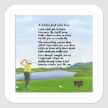Golf - Father Poem Square Stickers