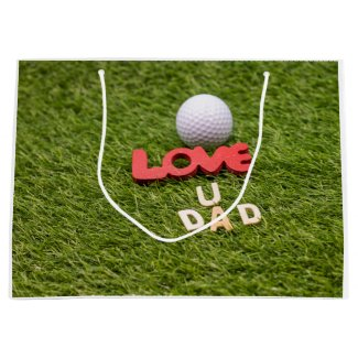 Golf father's day golf ball with love on green large gift bag
