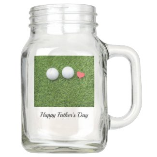 Golf father's day golf ball with love on green mason jar