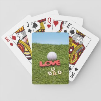 Golf father's day golf ball with love on green playing cards