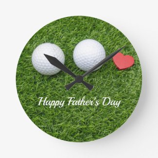 Golf father's day golf ball with love on green round clock