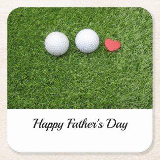 Golf father's day golf ball with love on green square paper coaster