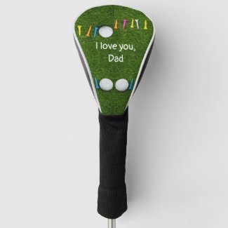 Golf Father's Day with golf ball and tees on green Golf Head Cover
