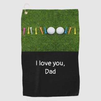 Golf Father's Day with golf ball and tees on green Golf Towel