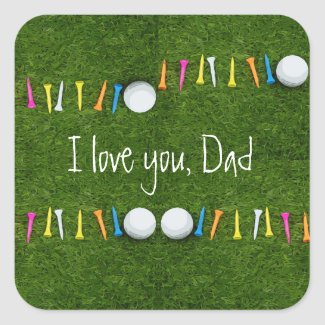 Golf Father's Day with golf ball and tees on green Square Sticker
