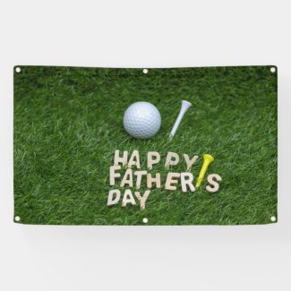 Golf Father's Day with golf ball on green grass Banner
