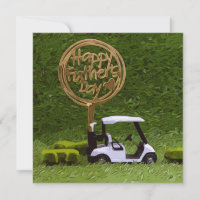 Golf Father's Day with golf cart and sign on green Card