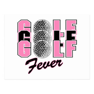 golf fever pink postcard