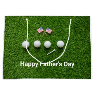 Golf flag of America golf ball Happy Fathers day Large Gift Bag