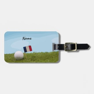 Golf France flag French Tournament with golf ball Luggage Tag
