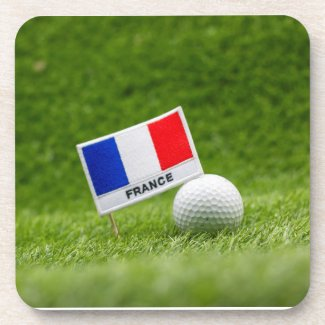 Golf France with flag of France and golf ball Beverage Coaster