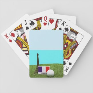 Golf France with golf ball flag and Eiffel tower Playing Cards