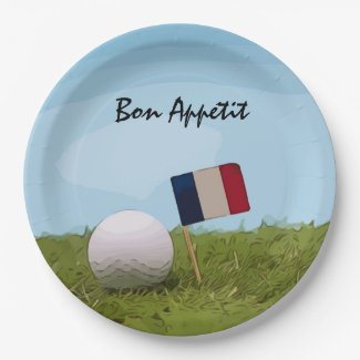 Golf French paper plate with Flag Bon Appétit