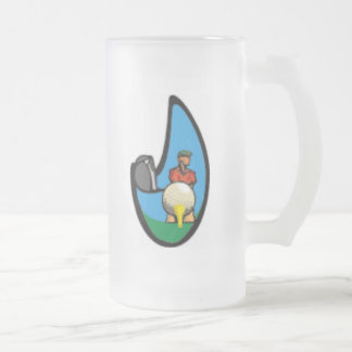 Golf Frosted Glass Beer Mug