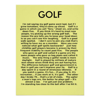 Golf Funny Poster Humor