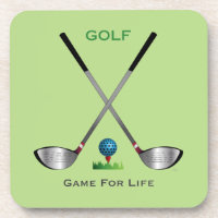 GOLF - Game for Life Golf Clubs Golf Ball Beverage Coaster
