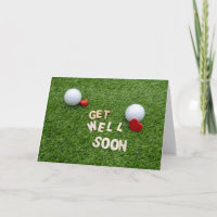 Golf Get well soon card with golf ball and tee