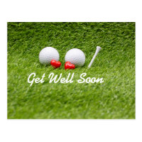 Golf Get well soon golf balls and tee with love Postcard