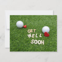 Golf Get well soon with golf ball and love hearts