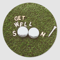 Golf Get well soon with golf ball and tee Classic Round Sticker