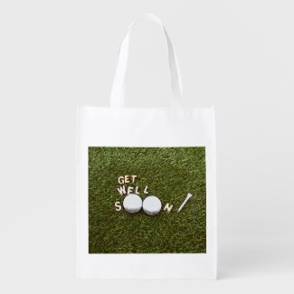 Golf Get well soon with golf ball and tee Grocery Bag