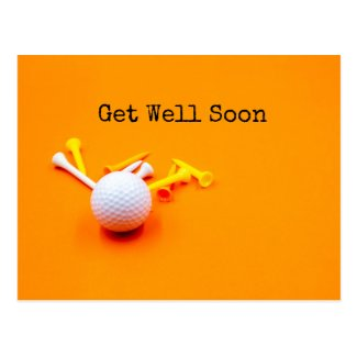 Golf Get Well Soon with golf ball and tee Postcard