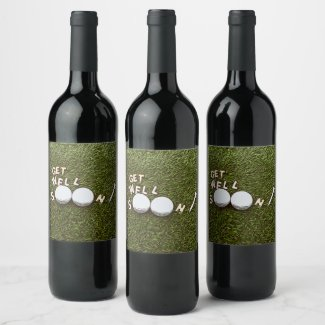 Golf Get well soon with golf ball and tee Wine Label