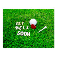 Golf Get Well Soon with golf ball on green love Postcard