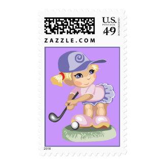Golf Girl Postage Stamp