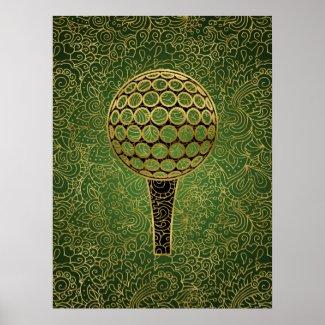 Golf Gold Green Filigree Sports Art Poster