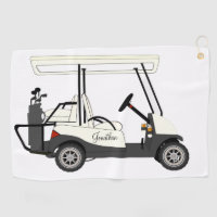 Golf Golfer Cart Clubs Ball Towels