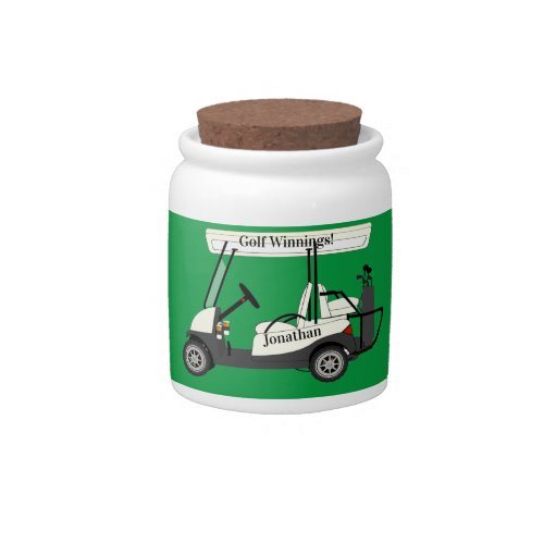 Golf Golfer Cart Winnings Cash Tiny Candy Jar