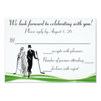"Golf / Golfing Couple RSVP Reply Card 3.5"" X 5"" Invitation Card"