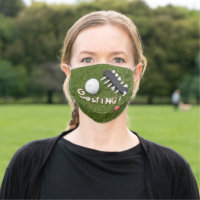 Golf gone golfing with golf ball and love on green cloth face mask