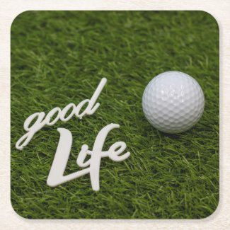 Golf good life Swing with golf ball on green Square Paper Coaster