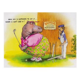 golf gordo del hipopótamo tarjeta postal