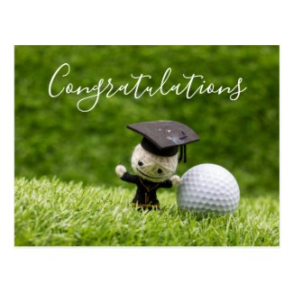 Golf Graduation with Congratulations with ball Postcard