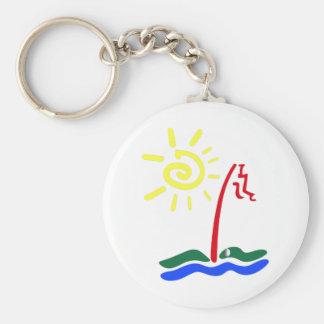 Golf Green Basic Round Button Keychain