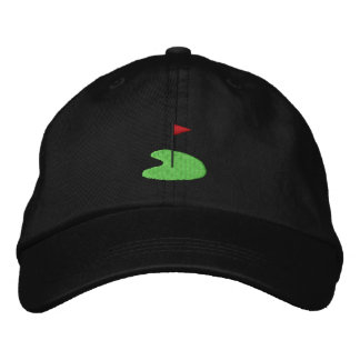 Golf Green with flag Embroidered Baseball Hat